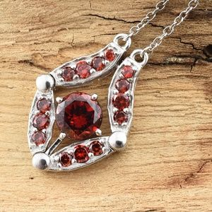 Jewelry - Multi Wear Sim Garnet Platinum Bond Brass Necklac